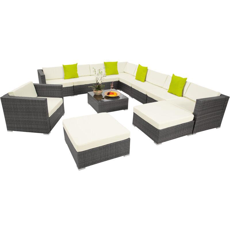 Tectake - Canapé de jardin LAS VEGAS modulable 10 places - table de jardin, mobilier de jardin, fauteuil de jardin - gris