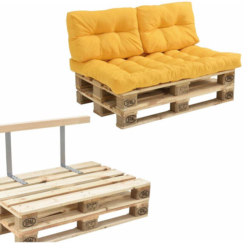 Helloshop26 - Canapé de palette euro- 2-siège avec coussins- [moutard] kit complète incl. Dossier