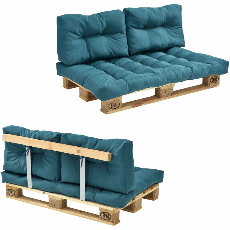 Canapé de palette euro- 2-siège avec coussins- [turquoise] kit complète incl. Dossier