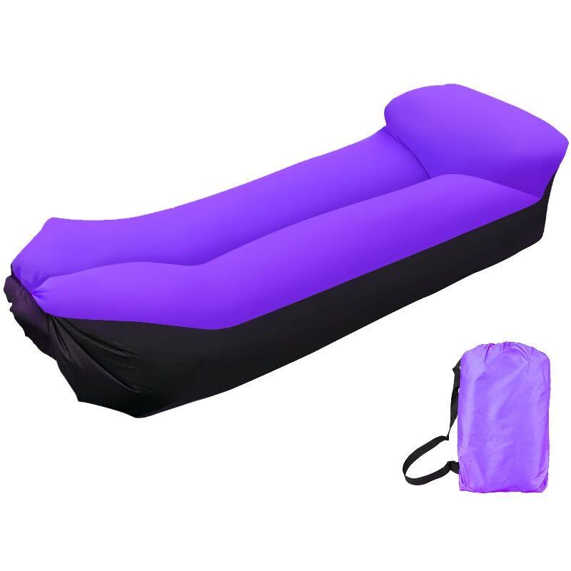 Canapé Gonflable Exterieur avec Oreiller sans Pompe Air Sofa Gonflable Portable Lit de Couchage Imperméable, pour Voyager et Camping (violet)