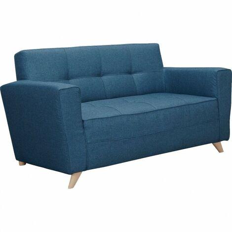 Canapé 2 places droit en tissu bleu et pieds bois - LAY 7542 - Bleu