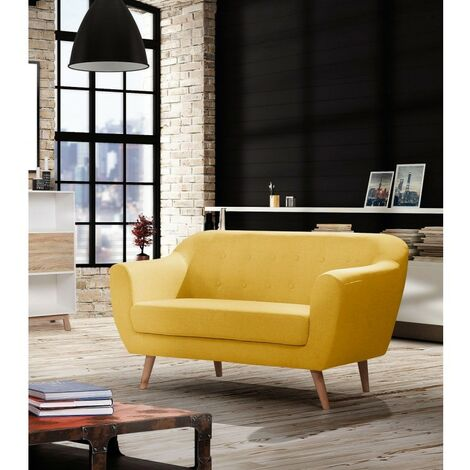 Canapé 2 places LEONARDO en tissu jaune moutarde - Jaune moutarde