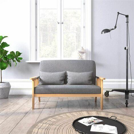 """main image of """"Canapé 2 Places,Fauteuil Salon Scandinave Cadre en Bois Surface en Tissu Lin,Gris Foncé - Meerveil"""""""