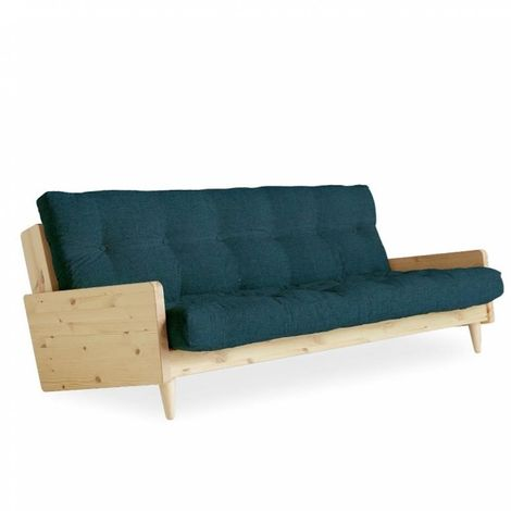 Canapé 3/4 places convertible INDIE style scandinave futon bleu profond couchage 130*190 cm. - bleu