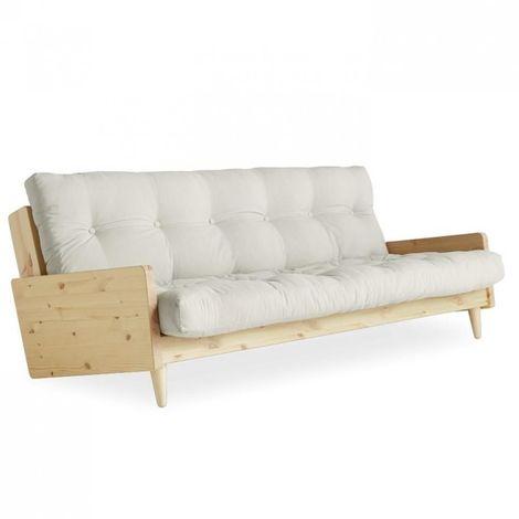 Canapé 3/4 places convertible INDIE style scandinave futon écru couchage 130*190 cm. - ecru