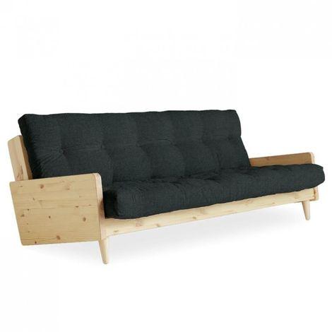Canapé 3/4 places convertible INDIE style scandinave futon gris ardoise couchage 130*190 cm. - gris