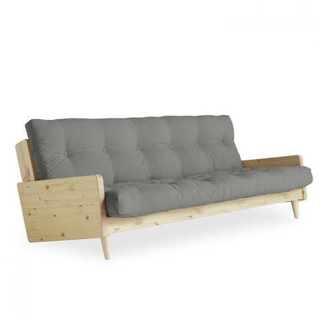 Canapé 3/4 places convertible INDIE style scandinave futon gris couchage 130*190 cm. - gris