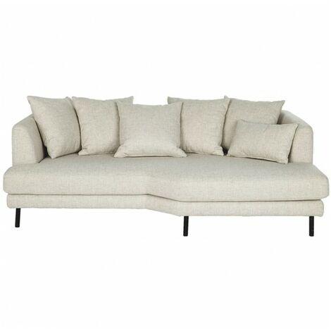 Canapé 3 places fixe en tissu écru angle droit - TUSSAUD 3686 - Ecru