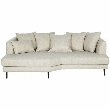 Canapé 3 places fixe en tissu écru angle gauche - TUSSAUD 4086 - Ecru