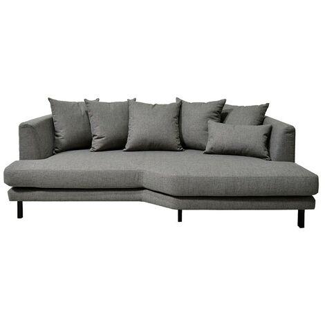 Canapé 3 places fixe en tissu gris angle droit - TUSSAUD 3723 - Gris