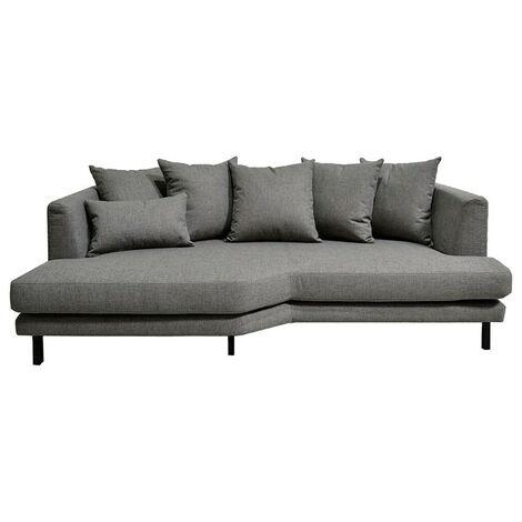 Canapé 3 places fixe en tissu gris angle gauche - TUSSAUD 4123 - Gris