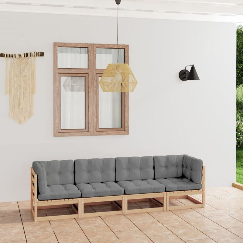 Canapé 4 places de jardin avec coussins Bois de pin solide