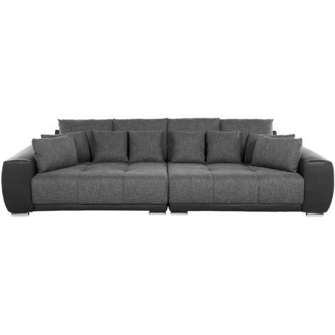 Canapé 4 places en tissu gris foncé TORPO