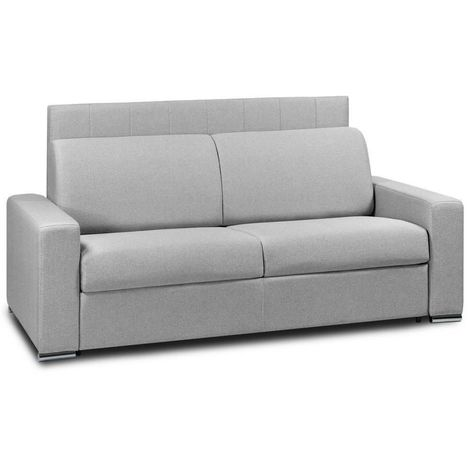 Canapé 4 places EXPRESS LATTES 160cm matelas 16 cm tête de lit intégrée polyuréthane gris clair - gris
