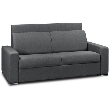 Canapé 4 places EXPRESS LATTES 160cm matelas 16 cm tête de lit intégrée polyuréthane gris graphite - gris