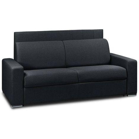 Canapé 4 places EXPRESS LATTES 160cm matelas 16 cm tête de lit intégrée polyuréthane noir - noir