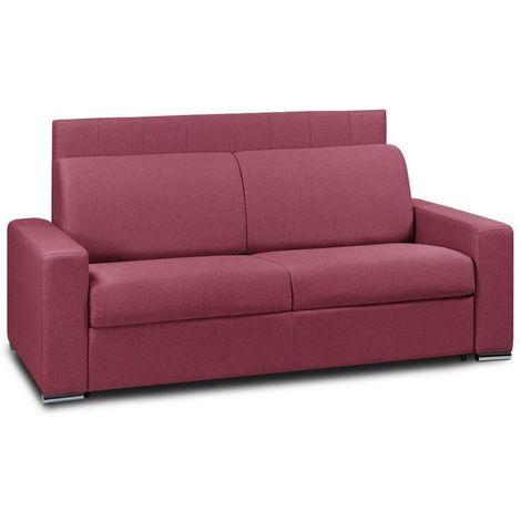 Canapé 4 places EXPRESS LATTES 160cm matelas 16 cm tête de lit intégrée polyuréthane rouge - rouge