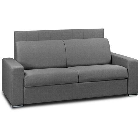 Canapé 4 places EXPRESS LATTES RENATONISI 160cm matelas 16 cm tête de lit intégrée tweed gris graphite - gris