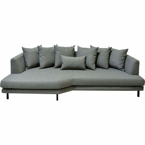 Canapé 5 places fixe en tissu gris angle gauche - TUSSAUD 4147 - Gris