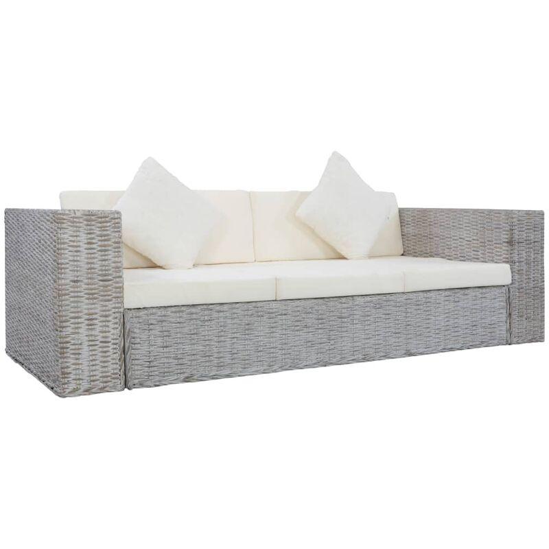 Canapé à 3 places avec coussins Gris Rotin naturel