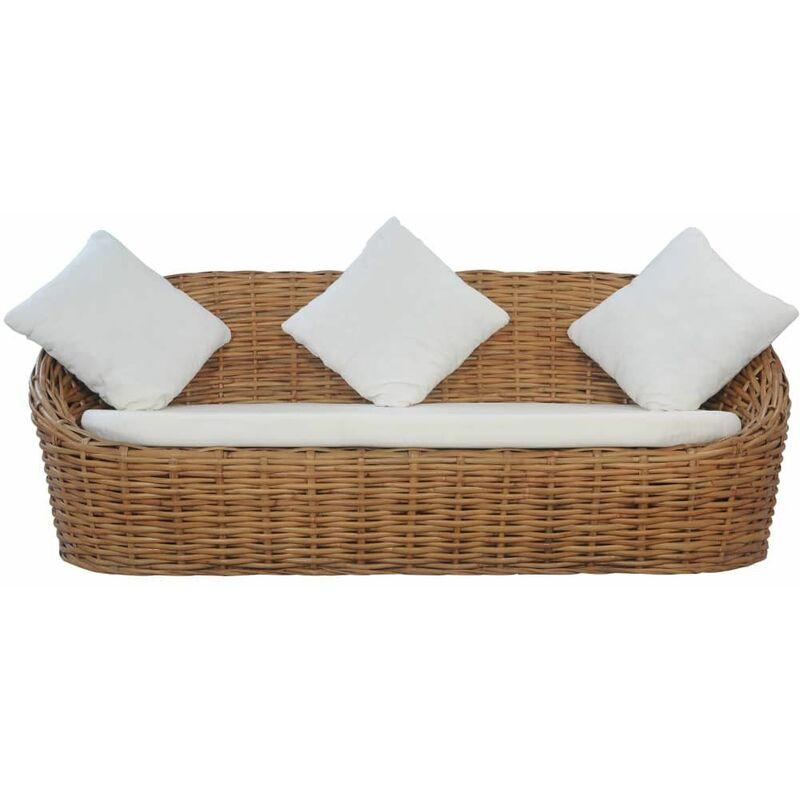 Canapé à 3 places avec coussins Rotin naturel - Marron