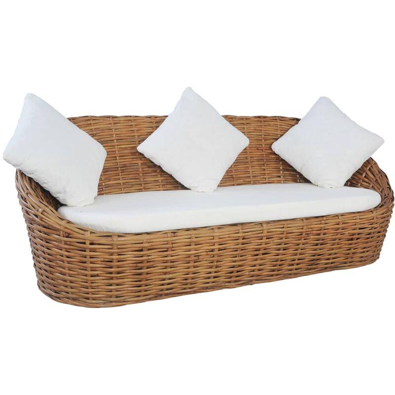 Canapé à 3 places avec coussins Rotin naturel