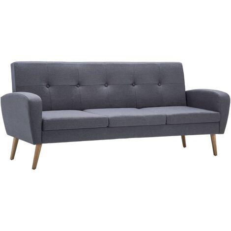 Canapé à 3 places Tissu Gris clair