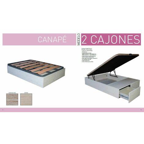 Canape Abatible 135x190 cms con Base Tapizada y dos cajones, color Andersen Pino, ref-03