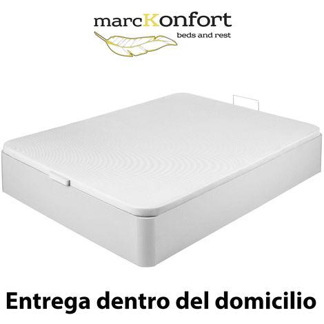 "main image of ""Canape Abatible 135x190 De Gran Capacidad Con Esquinas Redondeadas En Madera. Base Tapizada 3d Transpirable Color Blanco"""