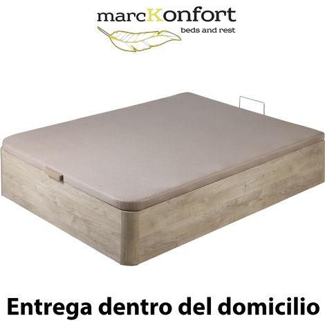 Canape Abatible 150x190 De Gran Capacidad Con Esquinas Redondeadas En Madera, Base Tapizada 3d Transpirable Color Roble