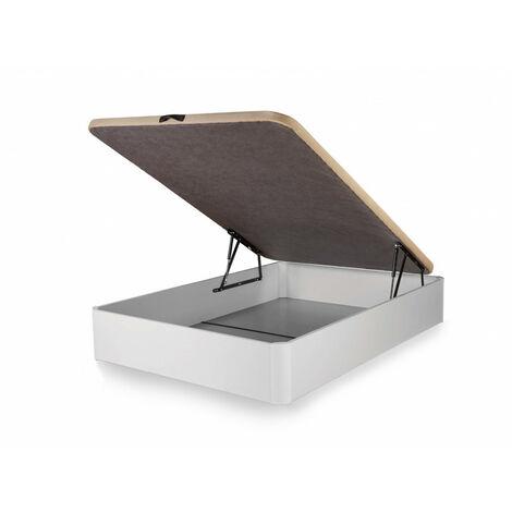 Canape abatible Madera Gran Capacidad con Tapa 3D y valvulas de transpiracion, incorpora esquineras en Madera Maciza, Color Blanco