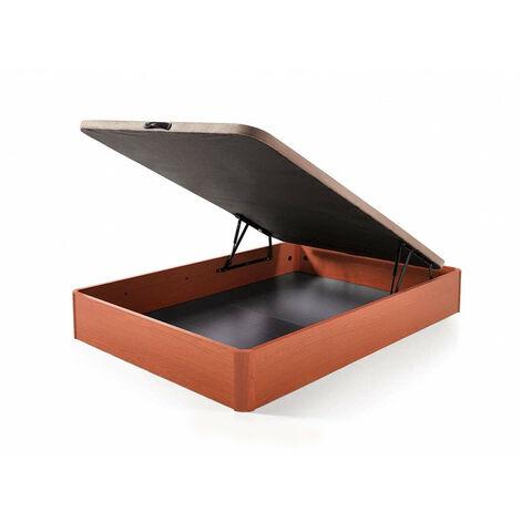 Canape abatible Madera Gran Capacidad con Tapa 3D y valvulas de transpiracion, incorpora esquineras en Madera Maciza, Color Cerezo