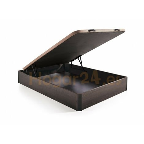 Canape abatible Madera Gran Capacidad con Tapa 3D y valvulas de transpiracion, incorpora esquineras en Madera Maciza, Color Wengue
