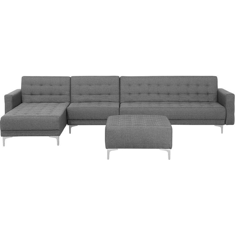 Beliani - Canapé angle droite convertible en tissu gris clair 5 places avec pouf ABERDEEN