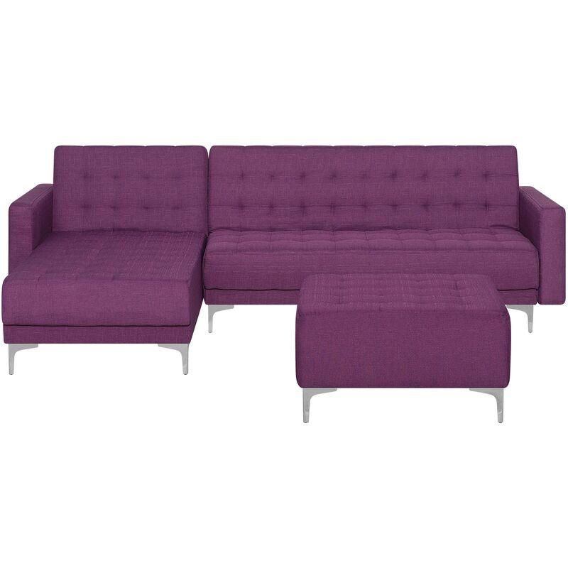 Canapé angle droite convertible en tissu violet 4 places avec pouf ABERDEEN