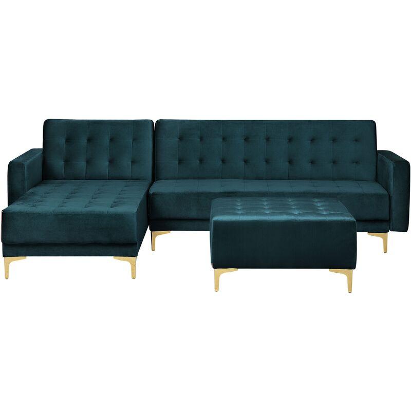 Canapé angle droite convertible en velours bleu paon 4 places avec pouf ABERDEEN