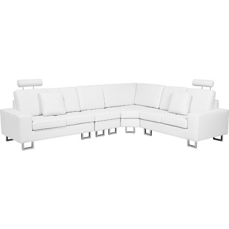 Canapé angle à gauche 6 places en cuir blanc STOCKHOLM