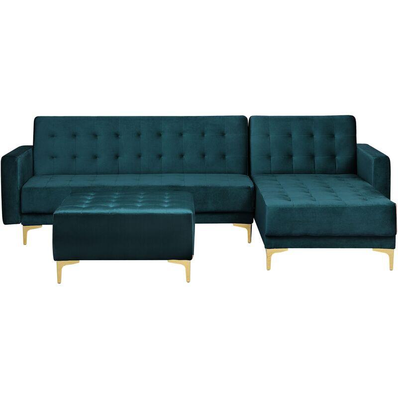 Canapé angle gauche convertible en velours bleu paon 4 places avec pouf ABERDEEN