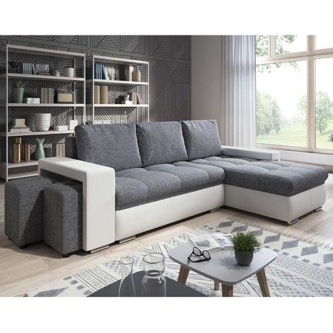 """main image of """"Canapé Angle Convertible Simon Blanc / Gris + 2 Poufs - Blanc et gris"""""""