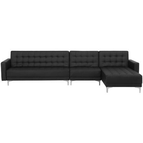 Canapé angle gauche convertible simili-cuir noir 5 places ABERDEEN