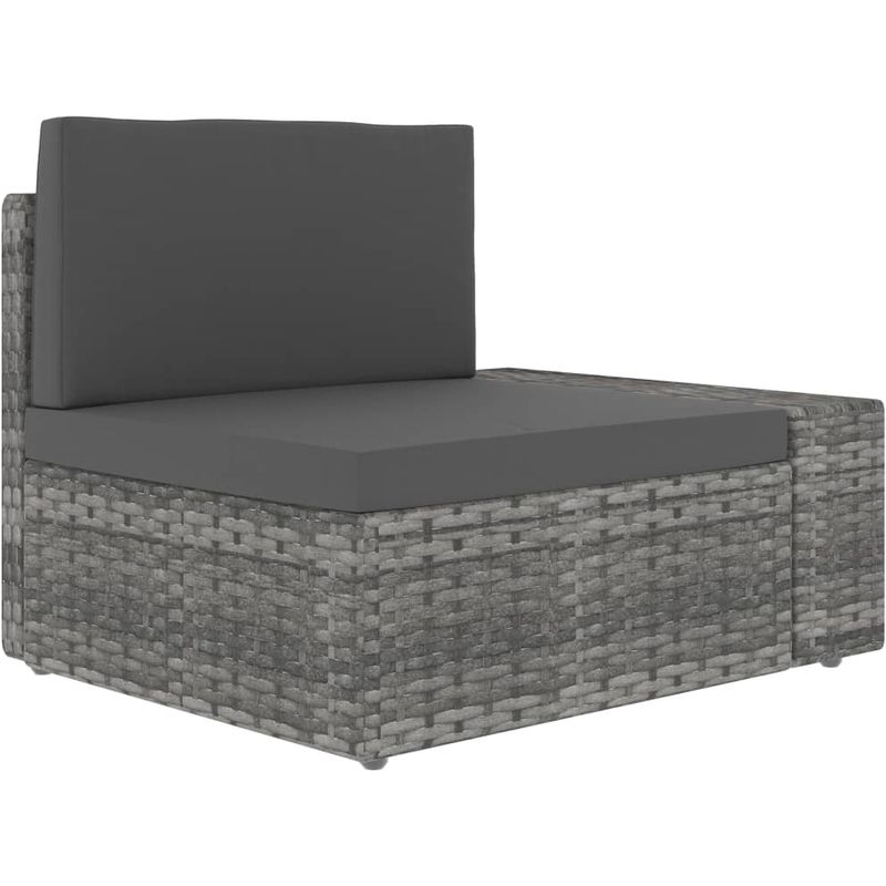 Asupermall - Canape angle sectionnel accoudoir gauche Resine tressee Gris