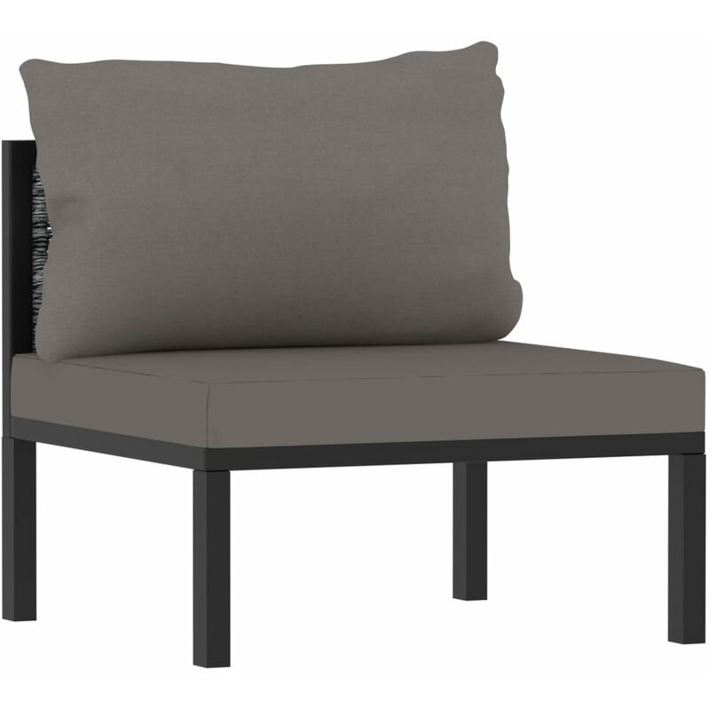 Canape central sectionnel et coussin Resine tressee Anthracite