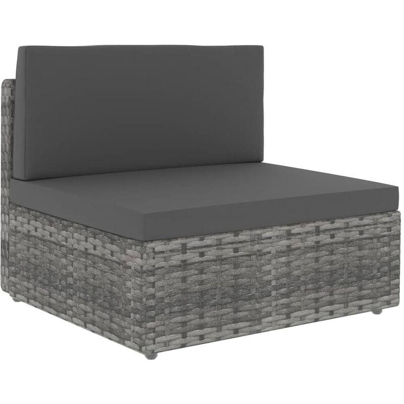Canapé central sectionnel Résine tressée Gris