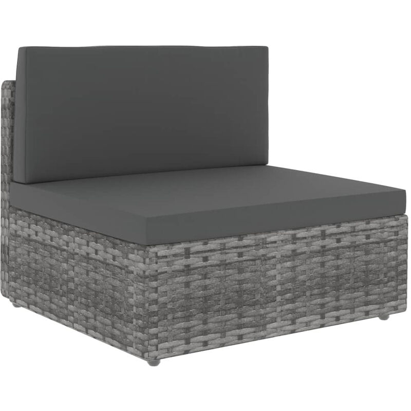 Canape central sectionnel Resine tressee Gris