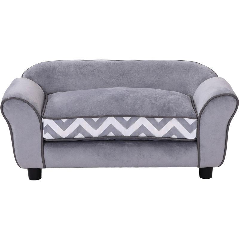 Canapé Chien Chat Sur Pied Style Graphique Contemporain Coussin Amovible Lavable Grand Confort 74l X 41l X 33h Cm Gris Blanc