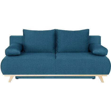 """main image of """"Canapé convertible 3 places avec coffre de rangement en tissu bleu canard - Collection Laria - Bleu"""""""