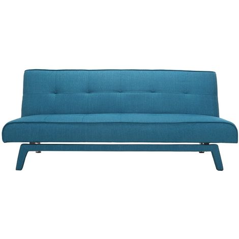 Canapé convertible design 3 places tissu bleu canard BUCK