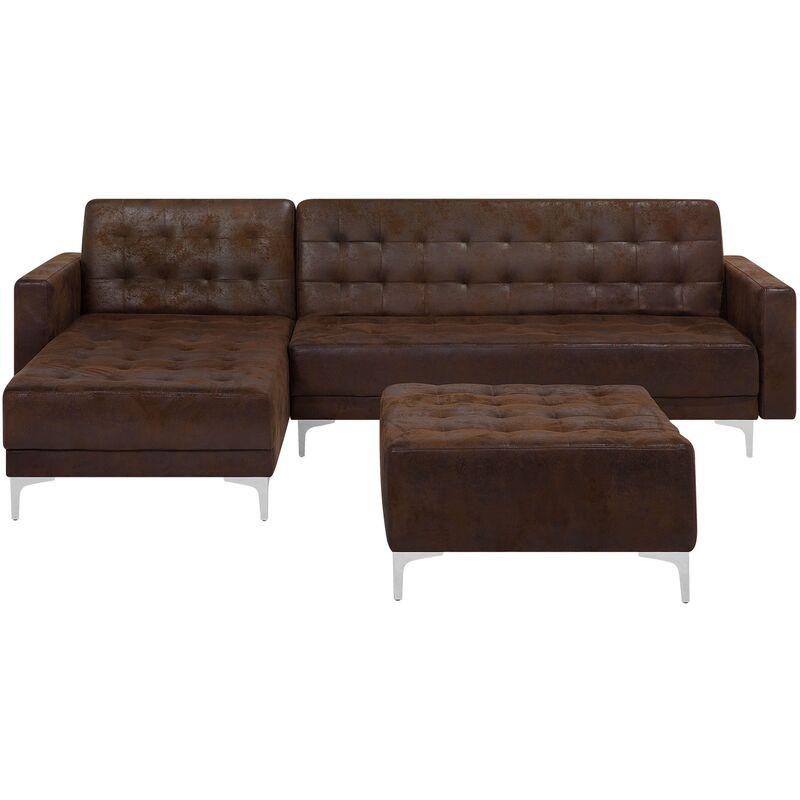 Beliani - Canapé angle droite convertible simili-cuir marron 4 places et pouf ABERDEEN