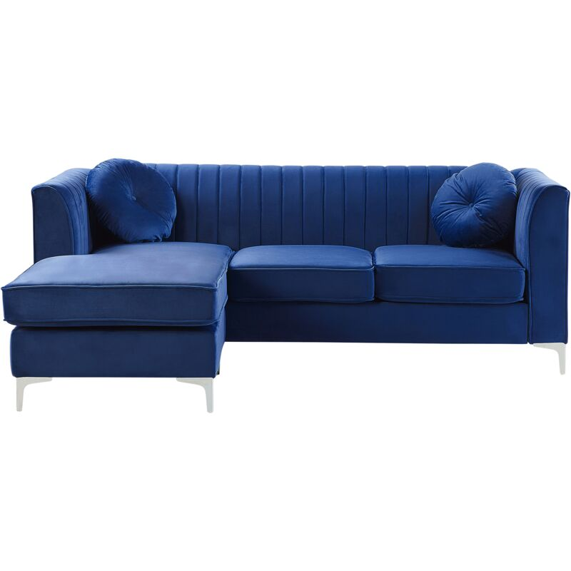 Canapé angle côté droit 3 places en velours bleu TIMRA