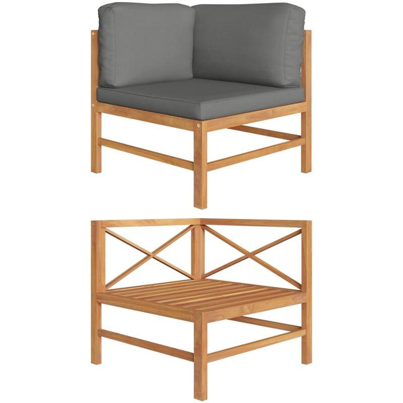 Canapé d'angle avec coussins gris foncé Bois de teck solide